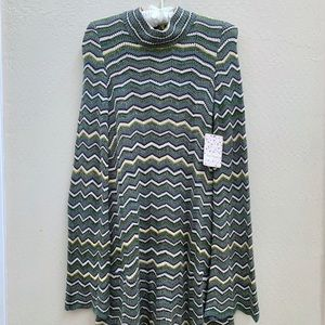 Free People zig zag knit bell sleeve dress